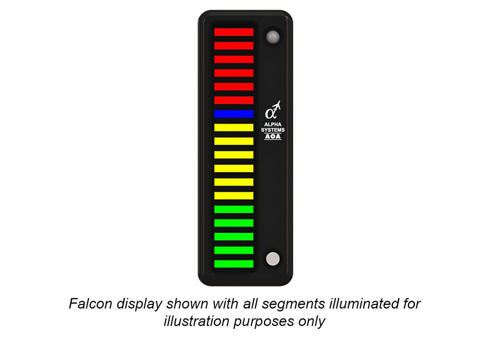 Alpha Systems AOA Falcon Angle of Attack Indicator with lights on