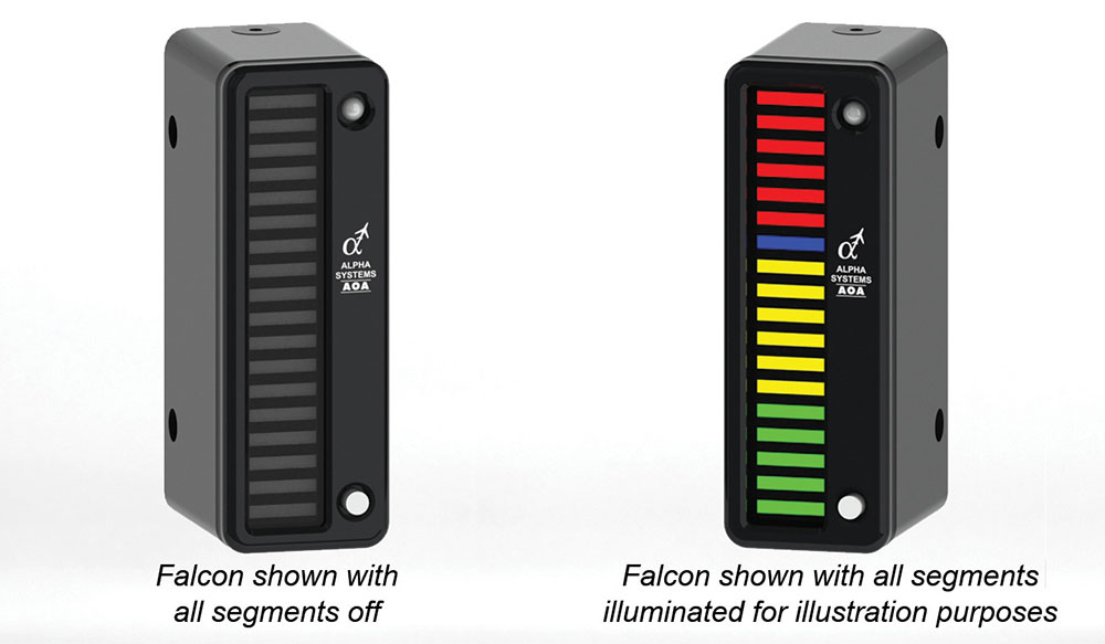 Alpha Systems AOA Falcon Angle of Attack Indicator on a Swivel Mount with Lights On and Off